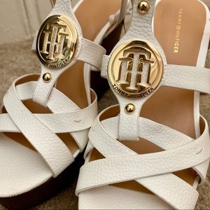 Tommy Hilfiger White Platform Sandals (New)
